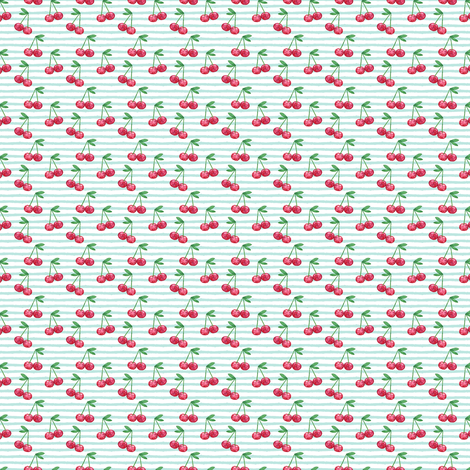 (micro print) watercolor cherries on blue stripes  fabric by littlearrowdesign on Spoonflower - custom fabric