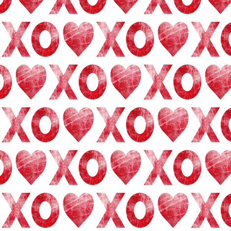 XO♥  red // distressed fabric by littlearrowdesign on Spoonflower - custom fabric