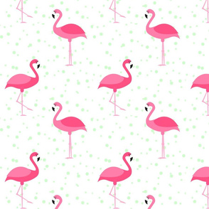 Flamingos with Mint Dots (large)