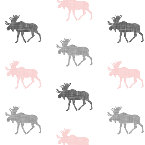 multi moose (small scale) || pink & grey fabric by littlearrowdesign on Spoonflower - custom fabric