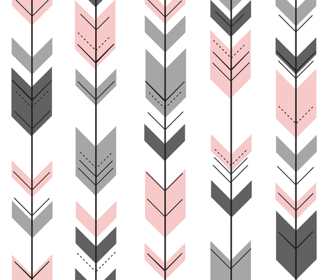 fletching arrow || pink and grey wholecloth coordinate fabric by littlearrowdesign on Spoonflower - custom fabric