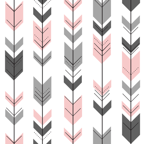 fletching arrows (small scale) || pink and grey  fabric by littlearrowdesign on Spoonflower - custom fabric