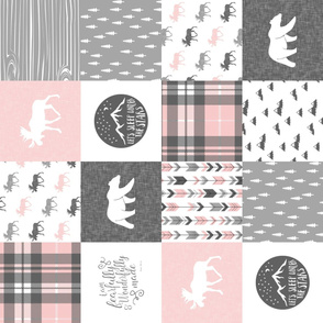 "4"" text - pink and grey woodland wholecloth (90) patchwork blanket - fearfully and wonderfully made"