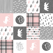 pink and grey woodland wholecloth (90) patchwork blanket - fearfully and wonderfully made