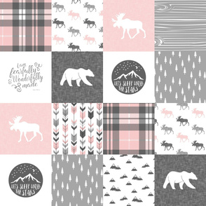 """4"""" text - pink and grey woodland wholecloth patchwork blanket - fearfully and wonderfully made"""