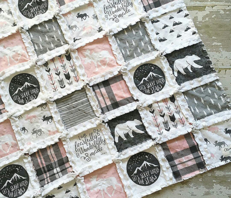 "4"" text - pink and grey woodland wholecloth patchwork blanket - fearfully and wonderfully made"