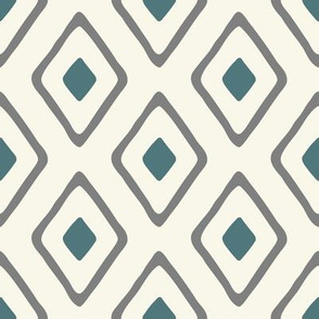 Diamond In Diamond -Teal/Grey/Ivory