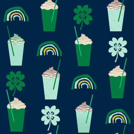shamrock shake mint iced drink coffee milkshake st patricks day rainbows fabric by charlottewinter on Spoonflower - custom fabric