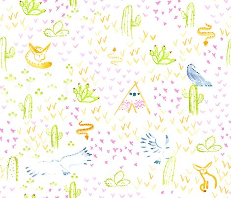 Aquarella_Desert fabric by un_temps_de_coton on Spoonflower - custom fabric