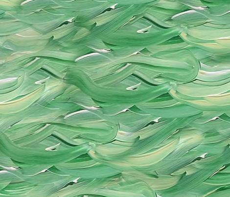Painting Green Waves fabric by themadcraftduckie on Spoonflower - custom fabric