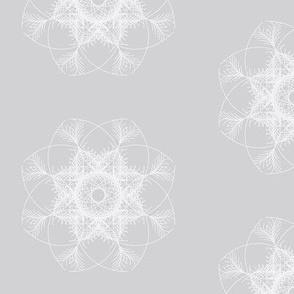 white on grey geometric flower
