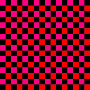 Checkerboard Pink Orange on Black