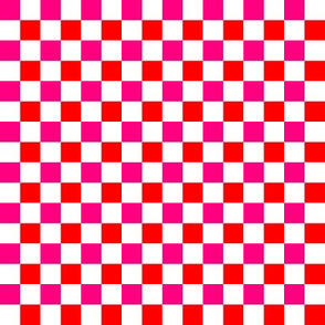Checkerboard Pink Orange on White