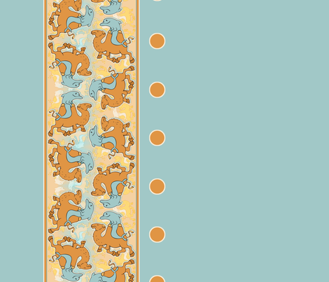 Dolphins riding Camels border  fabric by hannafate on Spoonflower - custom fabric