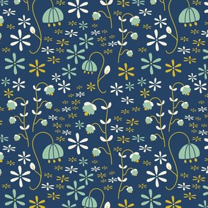Midnight flowers // blue flowers gold flowers night baby girl kids clothes