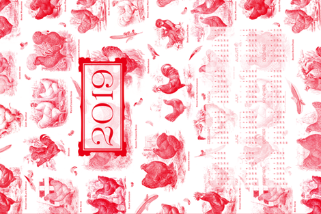 Poultry Envy Tea Towel 2019 White Red Toile  fabric by wickedrefined on Spoonflower - custom fabric