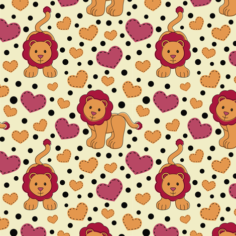 Lion Love fabric by eppiepeppercorn on Spoonflower - custom fabric