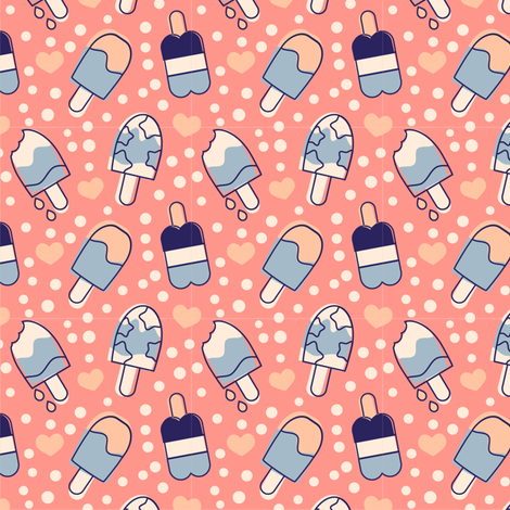 Popsicles Blue Cream and Pink fabric by eppiepeppercorn on Spoonflower - custom fabric