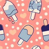 Popsicles Blue Cream and Pink