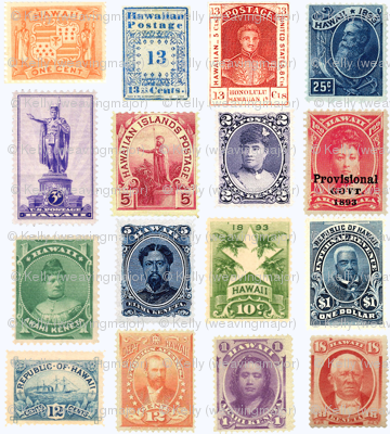 Hawaiian Postage Stamps Life Sized On White Wallpaper