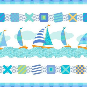 Sailboats & Stripes Blue