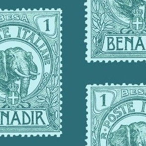 Large 1903 Benadir Elephant stamp, teal