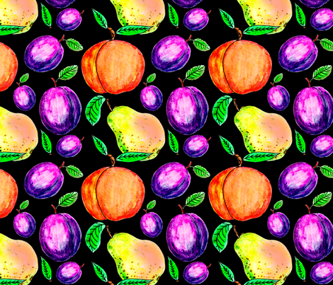 peach_pear_plum_dark fabric by leroyj on Spoonflower - custom fabric