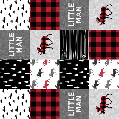 """2"""" small scale (90) - little man patchwork quilt top 