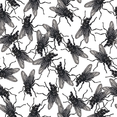 Flies black&white fabric by susiprint on Spoonflower - custom fabric