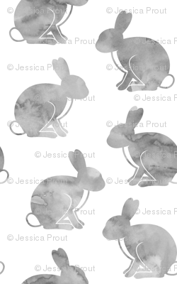 watercolor bunnies || easter fabric - grey
