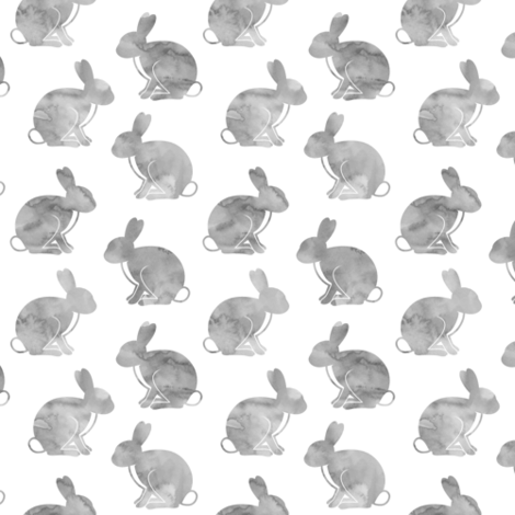watercolor bunnies || easter fabric - grey fabric by littlearrowdesign on Spoonflower - custom fabric