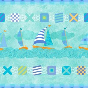 Sailboats & Stripes Aqua XL