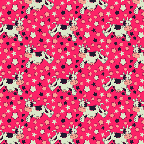 Pink Cows and Stars fabric by eppiepeppercorn on Spoonflower - custom fabric