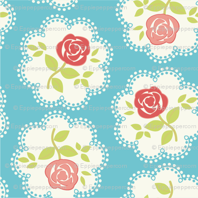 Shabby Chic Rose Doily Pinks and Blue