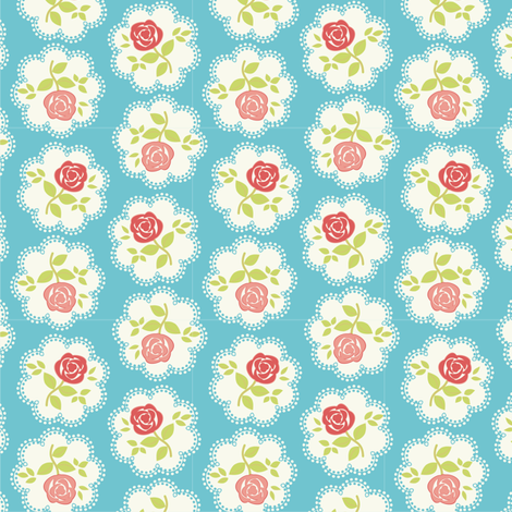 Shabby Chic Rose Doily Pinks and Blue fabric by eppiepeppercorn on Spoonflower - custom fabric