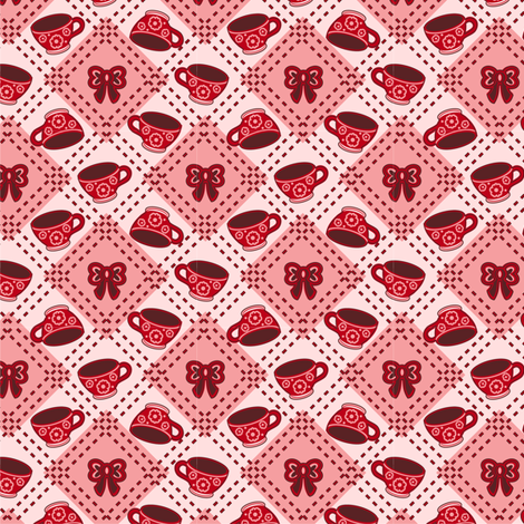 Tea Cups and Bows Reds fabric by eppiepeppercorn on Spoonflower - custom fabric