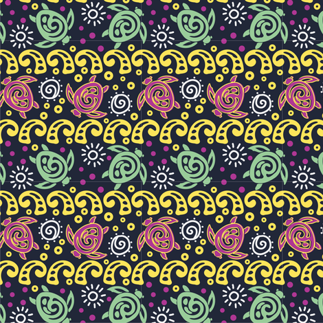 Batik Turtles and Waves fabric by eppiepeppercorn on Spoonflower - custom fabric