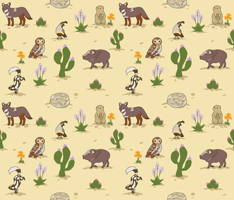 Life in the Desert fabric by lyddiedoodles on Spoonflower - custom fabric