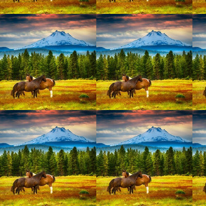 Horse herd and Mt Jefferson