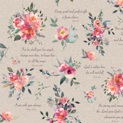 Baby Girl Scripture Floral on tan linen