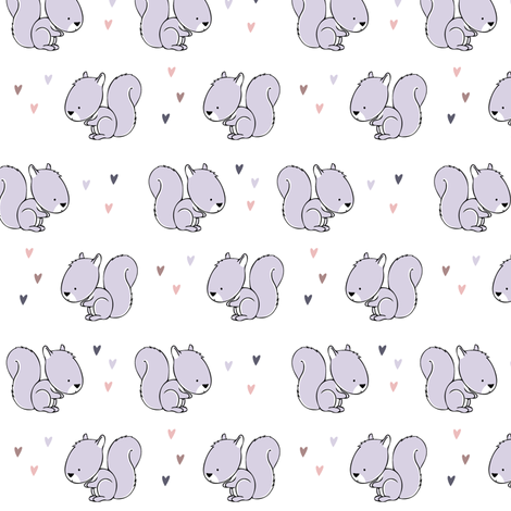 baby squirrel fabric (small scale) || purple fabric by littlearrowdesign on Spoonflower - custom fabric