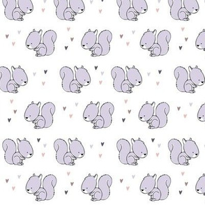 baby squirrel fabric (small scale) || purple