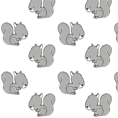 baby squirrels || grey fabric by littlearrowdesign on Spoonflower - custom fabric