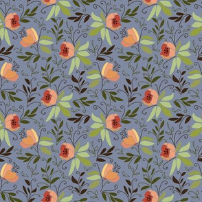 Magnolias on blue background