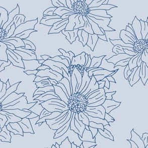 chrysanthemums blue on light grey