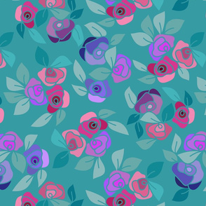 Colorful roses on teal