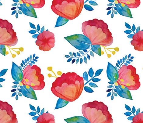 Watercolor Flowers fabric by elystrations on Spoonflower - custom fabric