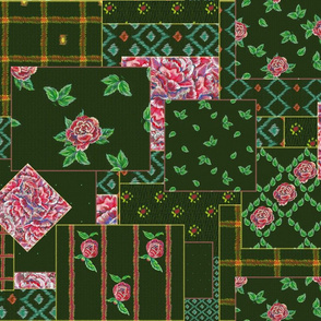 Quilting with roses, stripes and squares by magic_pencil