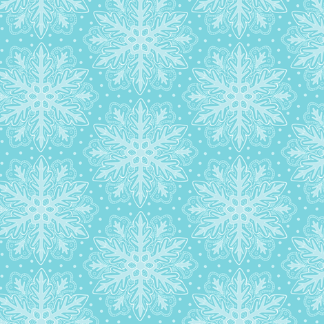 Snowflake on blue fabric by hazel_fisher_creations on Spoonflower - custom fabric