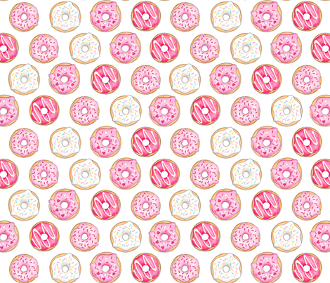 Iced Donuts - Pink 2 inch donuts fabric by hazelfishercreations on Spoonflower - custom fabric